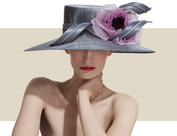 LARGE DOWNTURN HAT - Silver with Purple