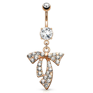 Gold Bow Clear Gem Navel Jewelry