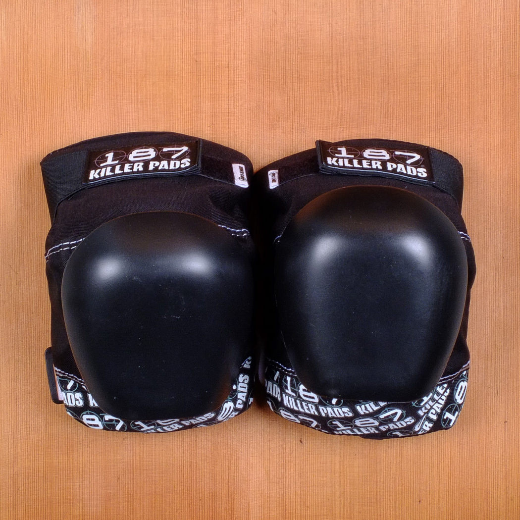 187 Killer Pads Pro Black White Knee Pads The Longboard