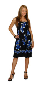 Sundress/Tube Dress Plumeria Design Black/Blue