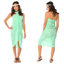"Sequined / Embroidered / Beaded Sarong ""Mint"""