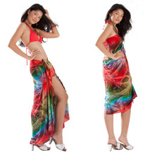 Embroidered Tie Dye Sarong in Red/Green