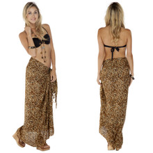 Feline Print Sarong in Brown/Tan