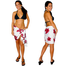 Hibiscus Half Sarong in Pink / White