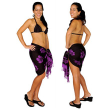 Hibiscus Half Sarong in Purple / Black