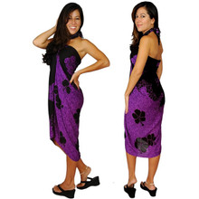 Hibiscus Sarong in Purple / Black