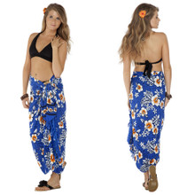 Hibiscus Sarong in Royal Blue / White