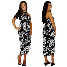 Hibiscus Sarong in Black / White FWS-S-HI-32