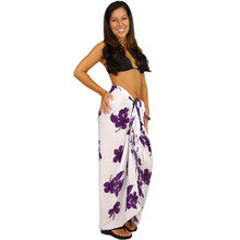 Hibiscus Sarong in Purple / White
