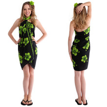 Hibiscus Sarong in Lime Green / Black