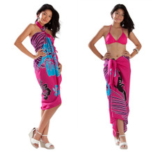 Multi Color Hibiscus Sarong in Hot Pink