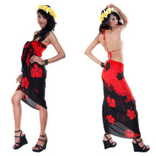 Split Color Hibiscus Flower Sarong in Red/Black