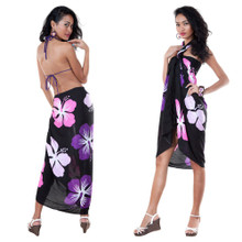 Hawaiian Floral Sarong in Black/Pink/Purple