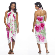 Hawaiian Sarong in Pink / Green / White
