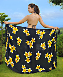 Plumeria Sarong in Black / Yellow