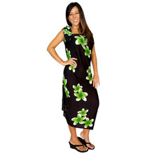 Plumeria Sarong in Black / Green