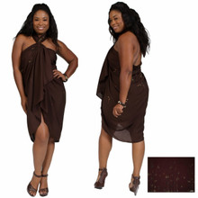 PLUS Sized Sarong Bamboo in Brown FRINGELESS