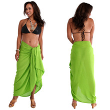 Plus Size Solid Colored Sarong in Lime Green