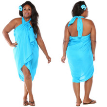 Plus Size Solid Colored Sarong in Turquoise