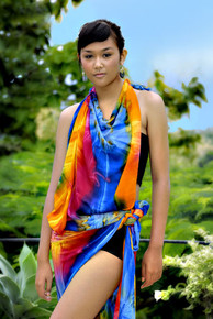 Diamond Rainbow Fringeless PLUS Sized Tie Dye Sarong
