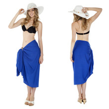 Solid Colored Blue Sarong - FRINGELESS
