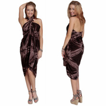 Embroidered Tie Dye High-End Pertama Sarong in Brown
