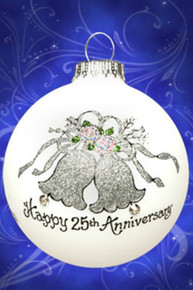 25th Anniversary hand painted glass ornament