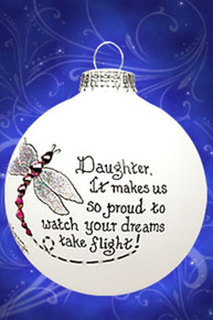 Daughter with dragonfly design hand painted glass ornament