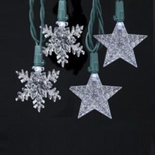 10/L White LED Light Set 2 Assorted Designs: Star and Snowflake