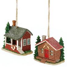 Rustic Cabin Ornament - Set of 2 Assorted