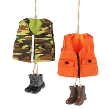 Hunting Vest Ornament - Set of 2 Assorted