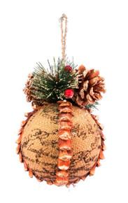 Black Script Burlap Ball Ornament