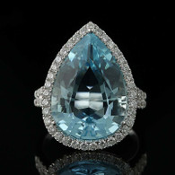 NEW Aquamarine & Diamond Halo Cocktail Ring - 14k Gold Custom 9.85ctw
