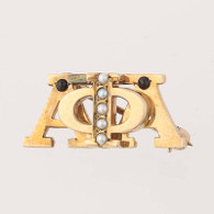 Alpha Phi Alpha - 10k Yellow Gold Pearls Onyx Greek Fraternity Pin