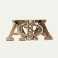 Alpha Phi Alpha - Pearls Onyx 10k Yellow Gold Greek Fraternity Pin