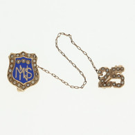 """MNS"" Nursing School Badge - 14k & 10k Yellow Gold Seed Pearls 25 Medical Pin"