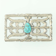 Native American Turquoise Belt Buckle - Sand Cast Open Cut Rectangle