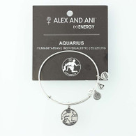 New ALEX AND ANI Aquarius Zodiac Charm Bracelet Adjustable Bangle Tags & Card