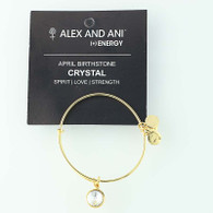 New ALEX AND ANI April Birthstone Clear Crystal Charm Bangle Bracelet Card Tag