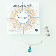 New ALEX AND ANI Blue Zircon Truth Bangle Charm Bracelet Blue Crystal Swarovski
