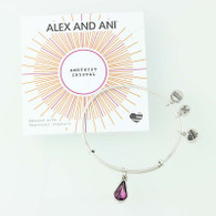 New ALEX AND ANI Amethyst Crystal Intuition Bangle Charm Bracelet Swarovski