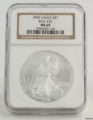 2006 American Silver Eagle - NGC MS69 1oz .999 One Dollar ASE Box # 32 Coin