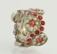 NEW Chamilia Charm 2083-0456 - Daisy Bouquet Bead Women's 925 Red Crystal