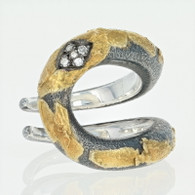 NEW Bora Diamond-Accented Ring - Sterling Silver & 18k Gold Size 7 1/2
