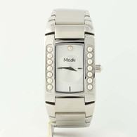 NEW Misaki Wristwatch Lustre Pearl Quartz Battery Stainless Steel Chain Watch