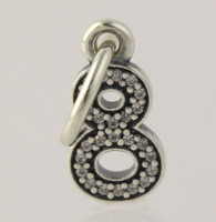 New Authentic Pandora Charm - Sterling Silver Clear CZ Number 8 791346CZ Pendant