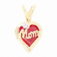 """Mom"" Heart Pendant - 10k Yellow Gold Synthetic Ruby & Diamond Accent"
