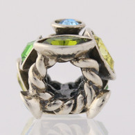 NEW Chamilia JC-2E Bead Charm - Sterling Silver Green Marquise Retired Swarovski