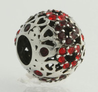 NEW Chamilia 2025-0681 Bead Charm - Sterling Silver Captured Hearts-Red Retired