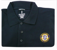 Navy Blue with embroidered logo on left chest